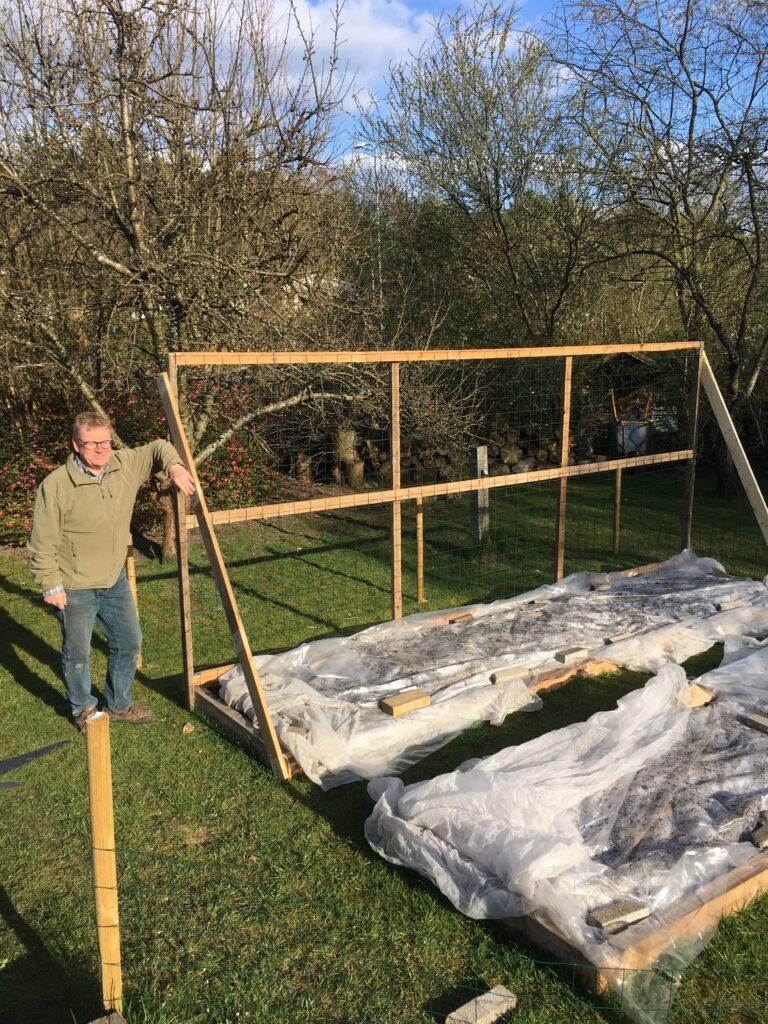 Min ven Peter ved det fire meter lange og 160 cm høje hegn, der skal støtte de syv prøver af Fairbeads Non Pareil.